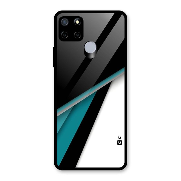 Abstract Lines Of Blue Glass Back Case for Realme C12