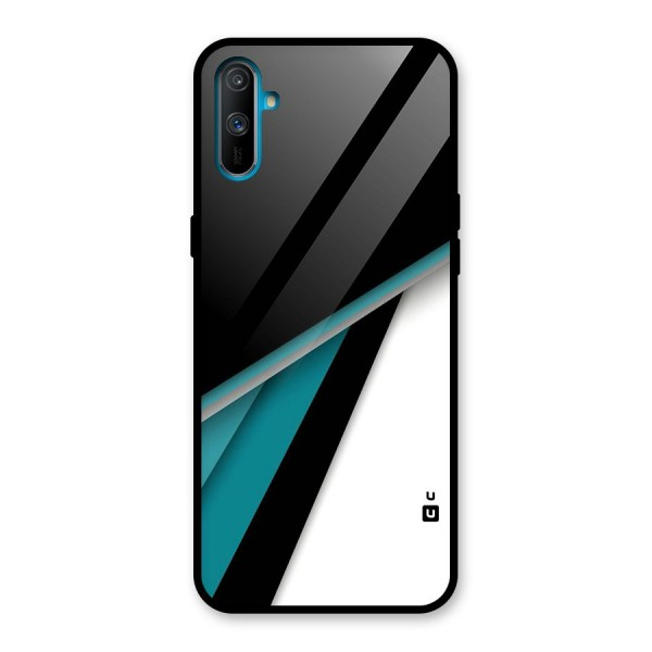 Abstract Lines Of Blue Glass Back Case for Realme C3