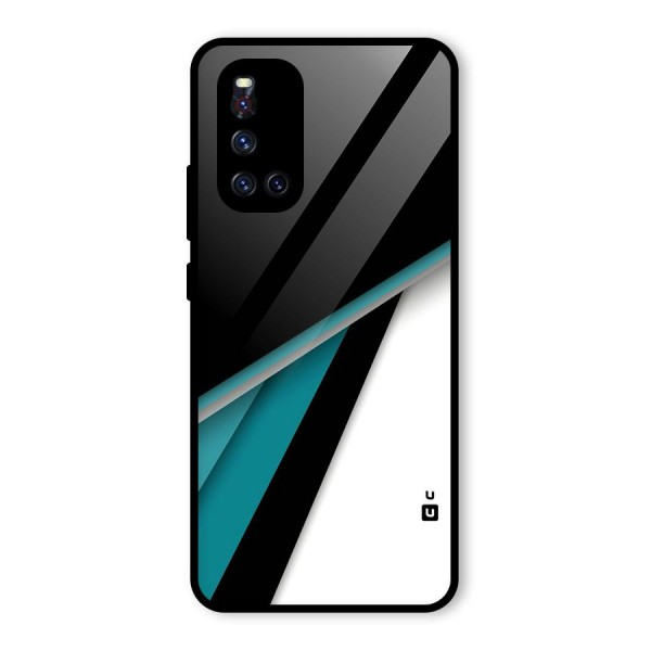 Abstract Lines Of Blue Glass Back Case for Vivo V19