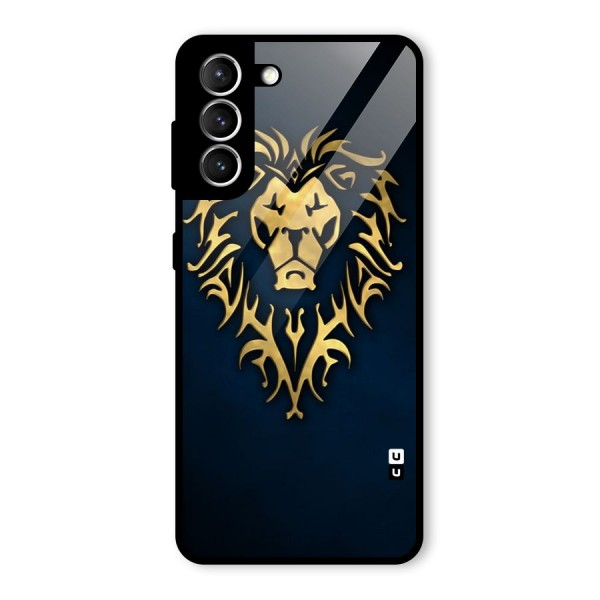 Beautiful Golden Lion Design Glass Back Case for Galaxy S21 5G