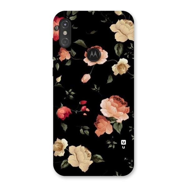 Black Artistic Floral Back Case for Motorola One Power