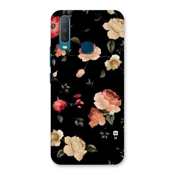 Black Artistic Floral Back Case for Vivo Y12
