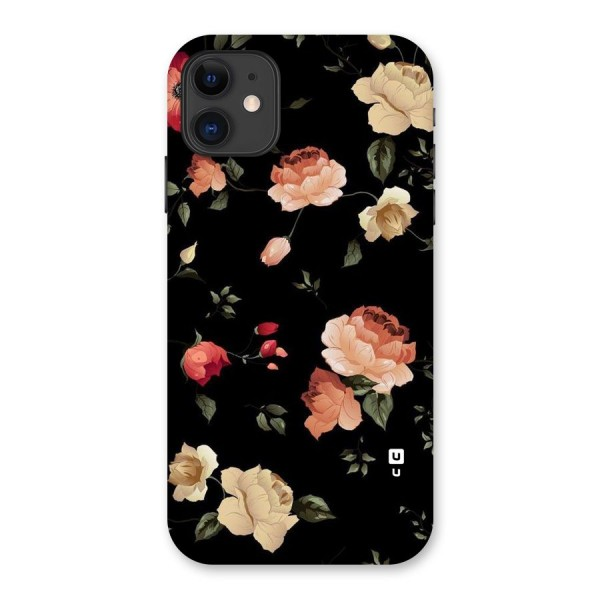 Black Artistic Floral Back Case for iPhone 11