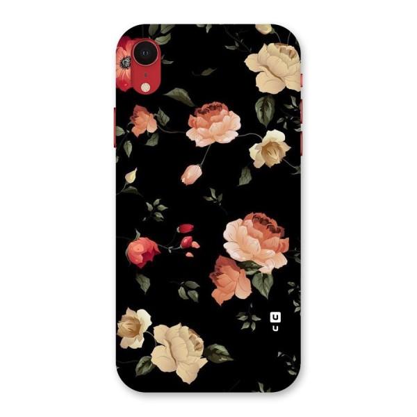 Black Artistic Floral Back Case for iPhone XR