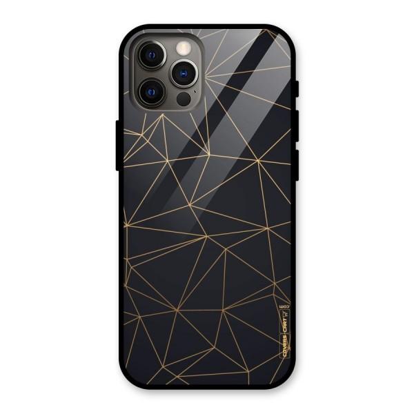 Black Golden Lines Glass Back Case for iPhone 12 Pro