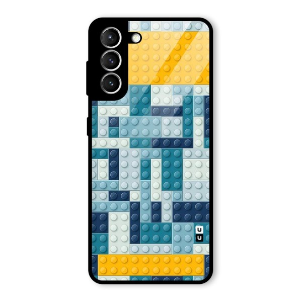 Blocks Blues Glass Back Case for Galaxy S21 5G