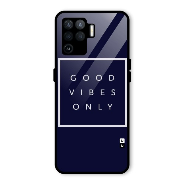 Blue White Vibes Glass Back Case for Oppo F19 Pro