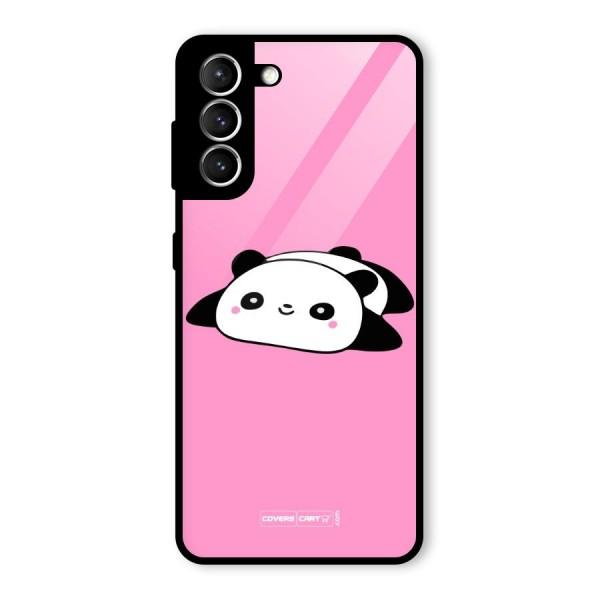 Cute Lazy Panda Glass Back Case for Galaxy S21 5G
