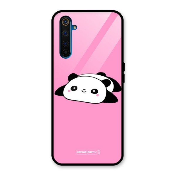 Cute Lazy Panda Glass Back Case for Realme 6 Pro