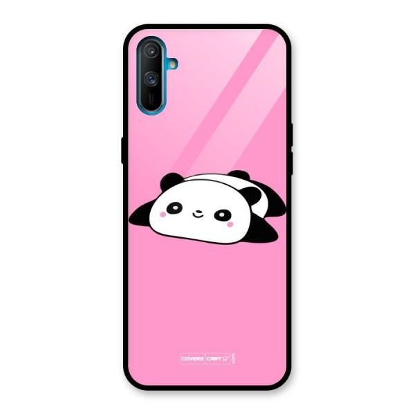 Cute Lazy Panda Glass Back Case for Realme C3