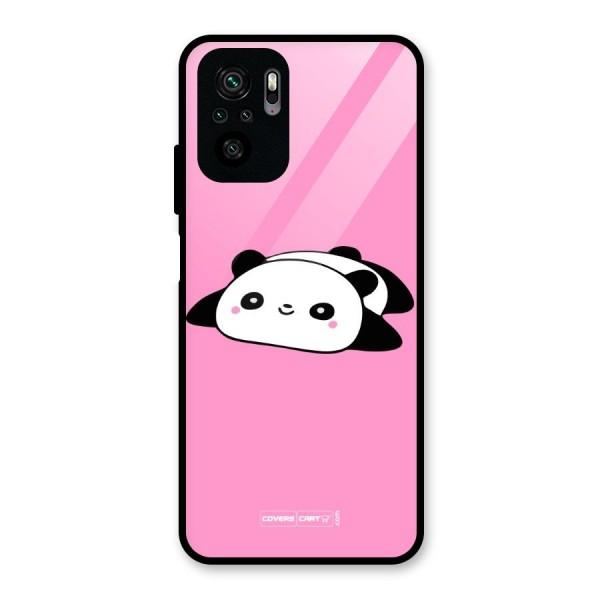 Cute Lazy Panda Glass Back Case for Redmi Note 10