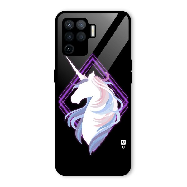 Cute Unicorn Illustration Glass Back Case for Oppo F19 Pro