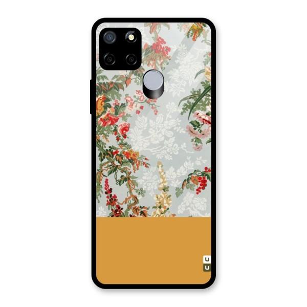 Golden Stripe on Floral Glass Back Case for Realme C12