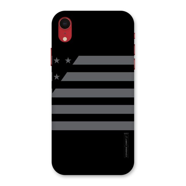 Grey Star Striped Pattern Back Case for iPhone XR