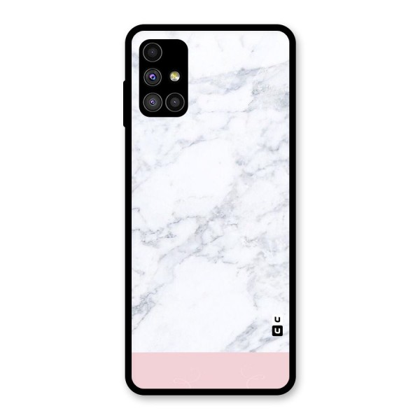 Pink White Merge Marble Glass Back Case for Galaxy M51