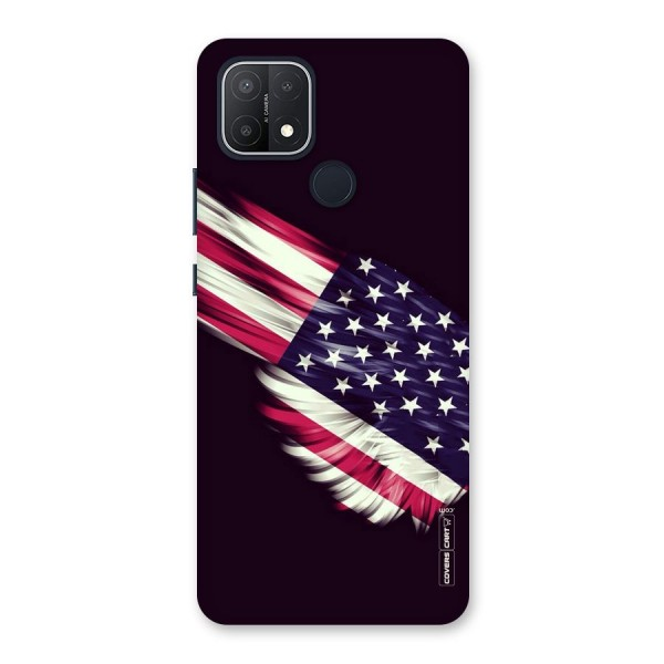 Red And White Stripes Stars Back Case for Oppo A15s