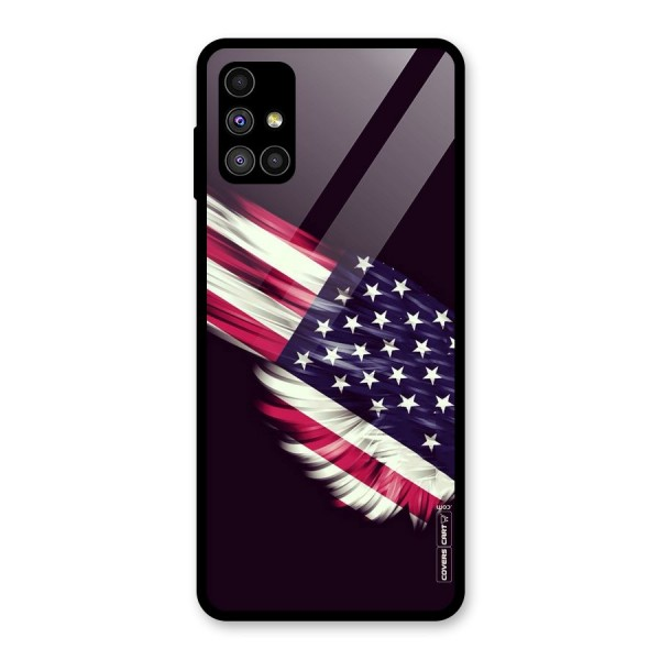 Red And White Stripes Stars Glass Back Case for Galaxy M51