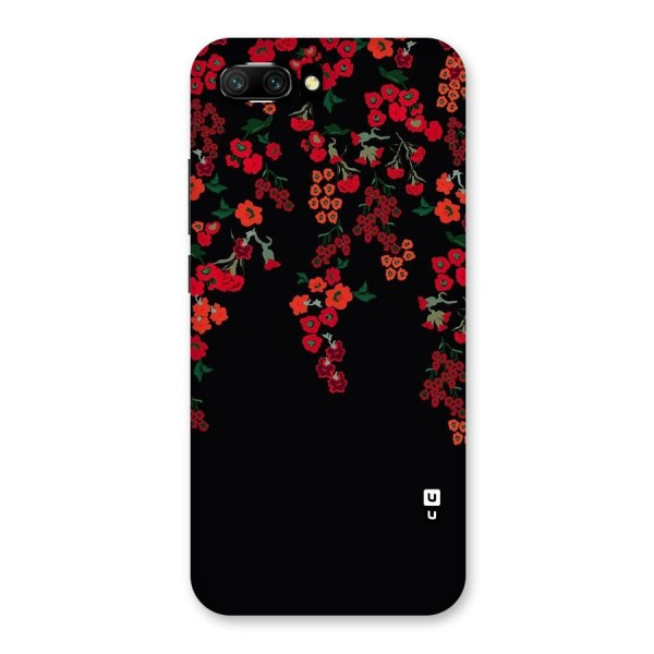 Red Floral Pattern Back Case for Honor 10