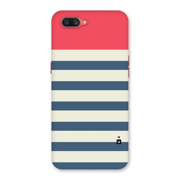 Solid Orange And Stripes Back Case for Oppo A3s