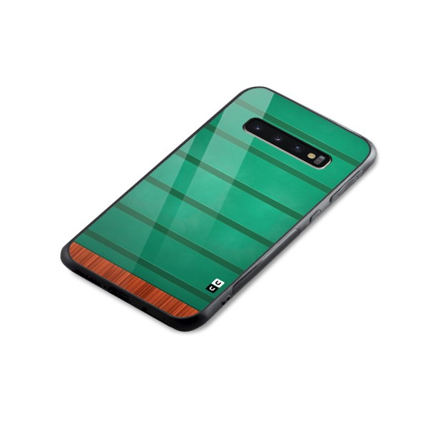 Green Wood Stripes Glass Back Case for Galaxy S10 Plus