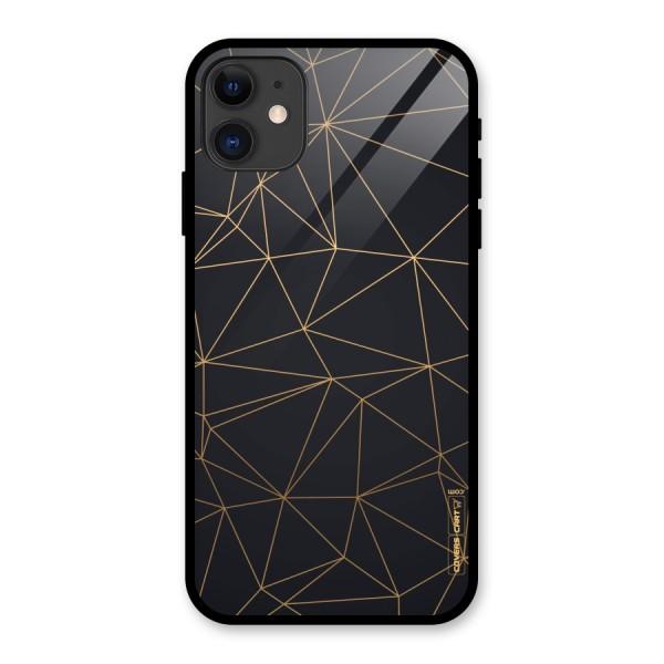 Black Golden Lines Glass Back Case for iPhone 11
