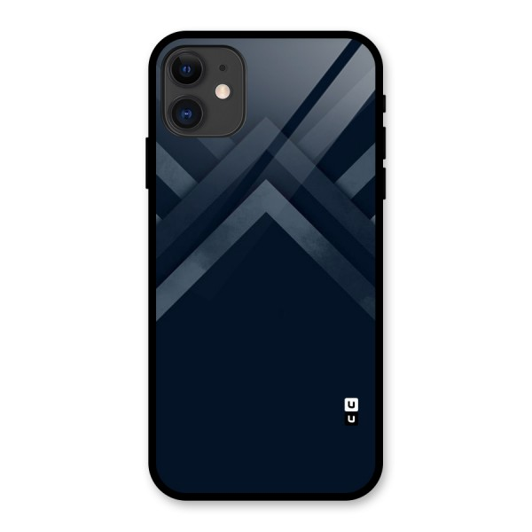 Navy Blue Arrow Glass Back Case for iPhone 11