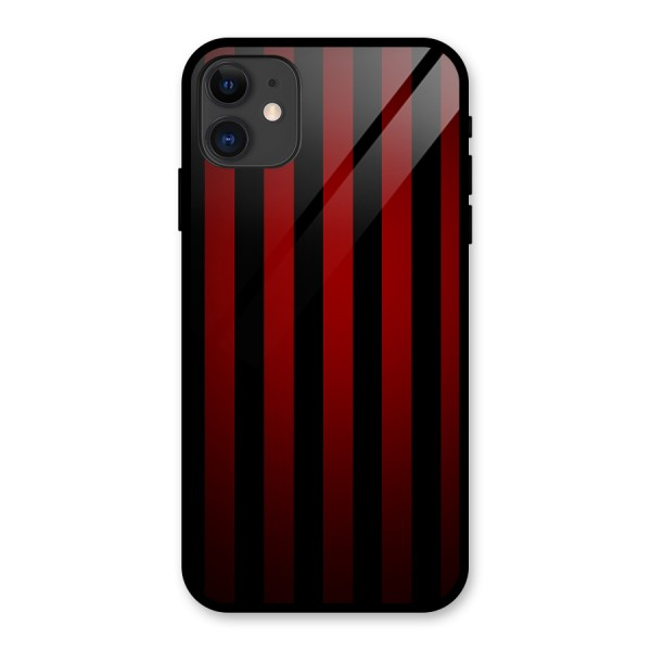 Red Black Stripes Glass Back Case for iPhone 11