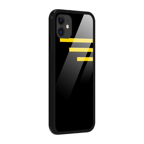 Sports Yellow Stripes Glass Back Case for iPhone 11