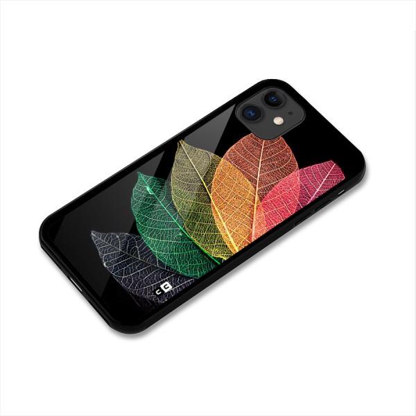 Net Leaf Color Design Glass Back Case for iPhone 11
