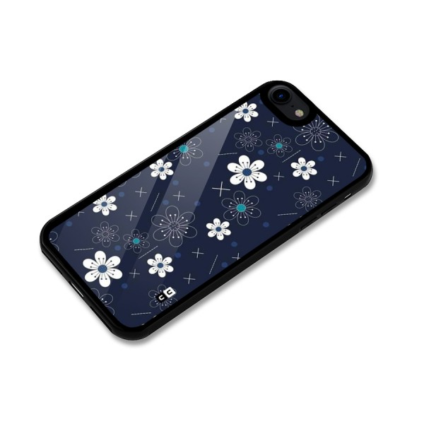 White Floral Shapes Glass Back Case for iPhone 8