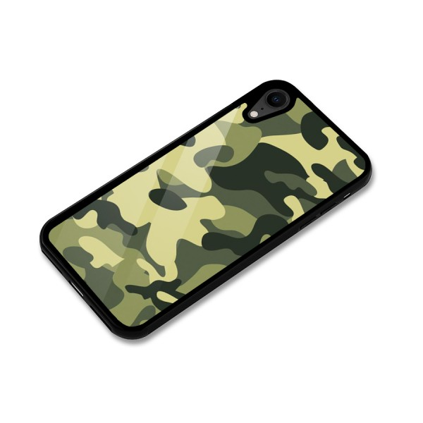 Green Military Pattern Glass Back Case for iPhone XR