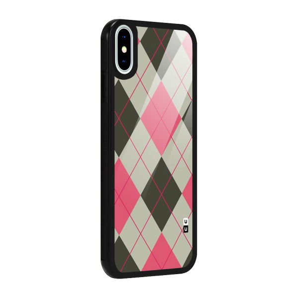 Check And Lines Glass Back Case for iPhone XS