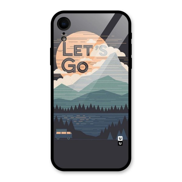 Abstract Travel Glass Back Case for iPhone XR