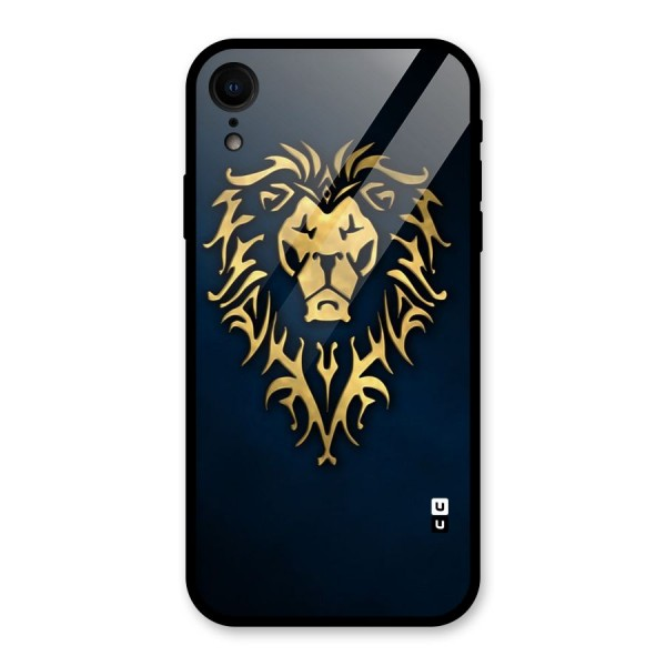 Beautiful Golden Lion Design Glass Back Case for iPhone XR