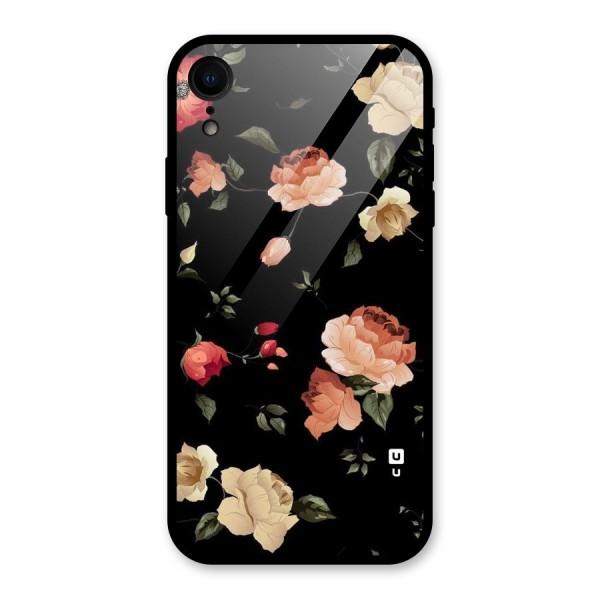 Black Artistic Floral Glass Back Case for iPhone XR