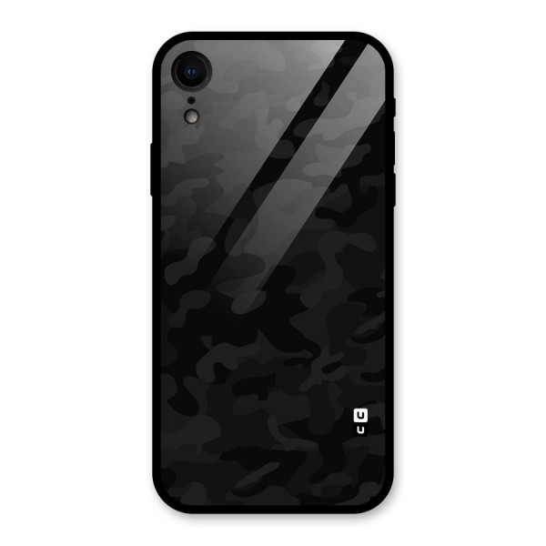 Black Camouflage Glass Back Case for iPhone XR