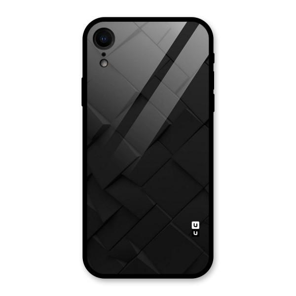 Black Elegant Design Glass Back Case for iPhone XR