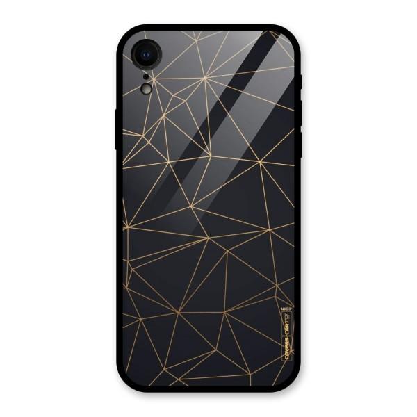 Black Golden Lines Glass Back Case for iPhone XR