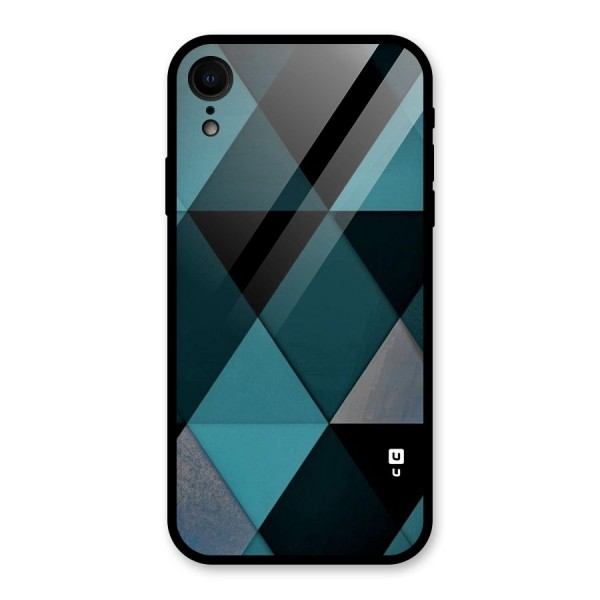 Green Black Shapes Glass Back Case for iPhone XR