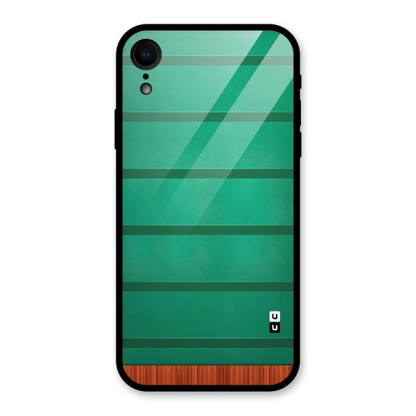Green Wood Stripes Glass Back Case for iPhone XR