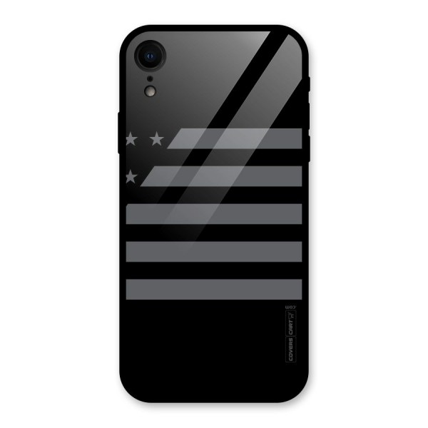 Grey Star Striped Pattern Glass Back Case for iPhone XR