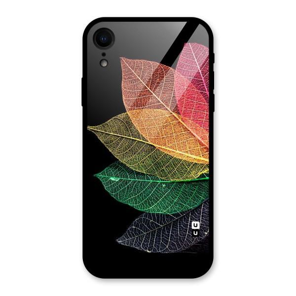 Net Leaf Color Design Glass Back Case for iPhone XR