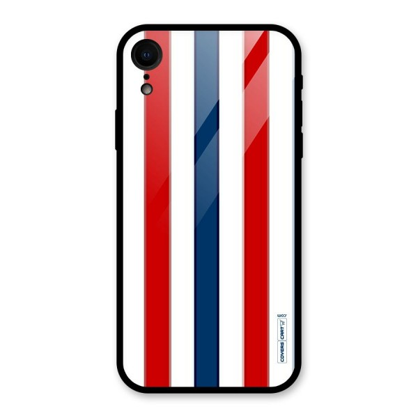 Tricolor Stripes Glass Back Case for iPhone XR