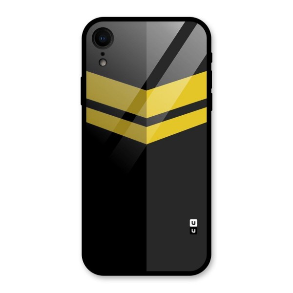 Yellow Lines Glass Back Case for iPhone XR