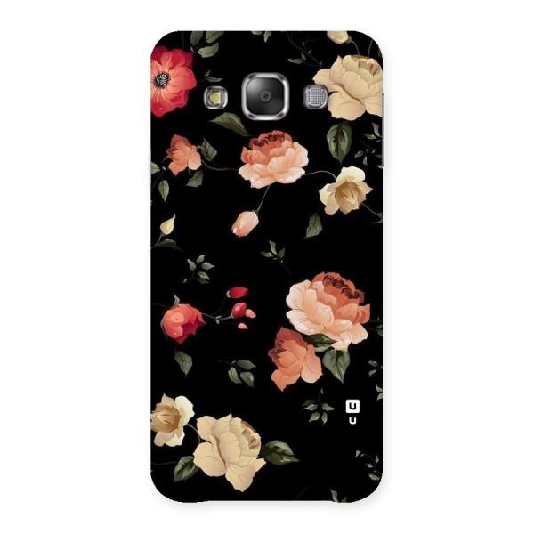 Black Artistic Floral Back Case for Galaxy E7
