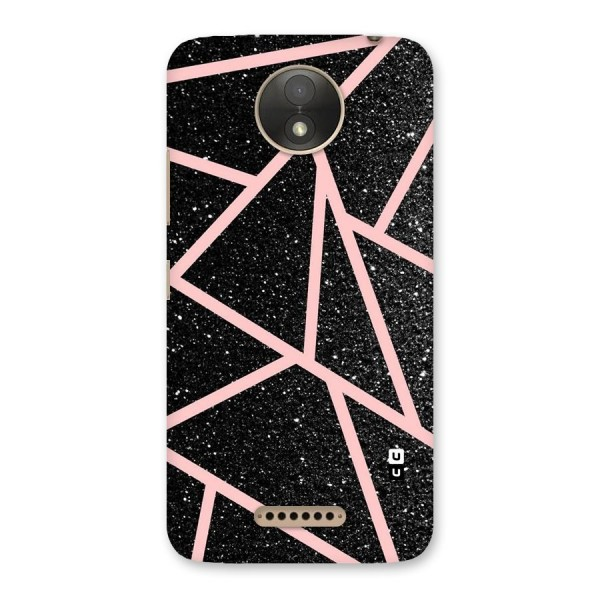 Concrete Black Pink Stripes Back Case for Moto C Plus