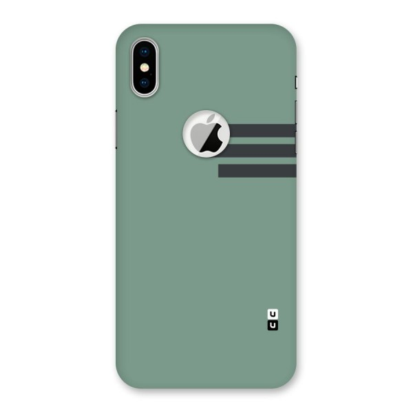 Solid Sports Stripe Back Case for iPhone X Logo Cut