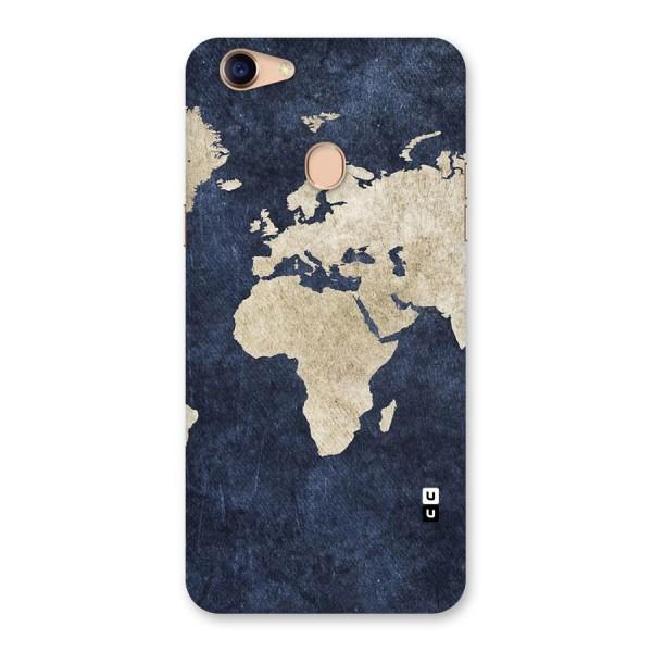 World Map Blue Gold Back Case for Oppo F5