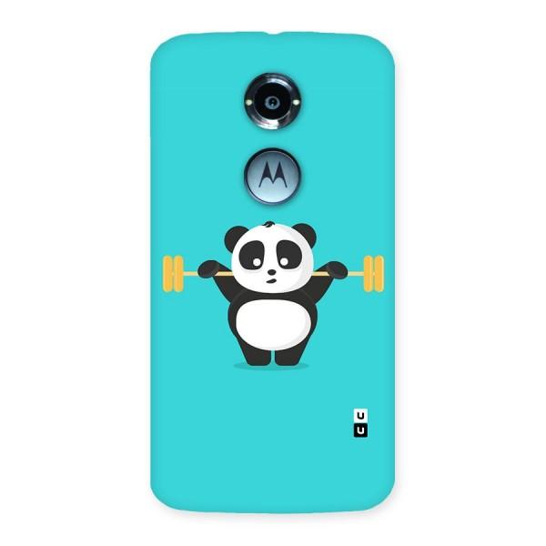 Cute Weightlifting Panda Back Case for Moto X 2nd Gen