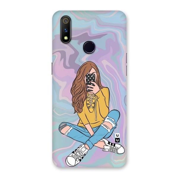 Selfie Girl Illustration Back Case for Realme 3 Pro